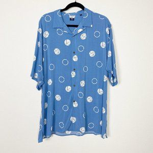 Uniqlo Blue Mickey Mouse Rayon Button Front Shirt